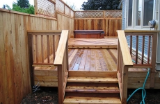 Steps to hot tub